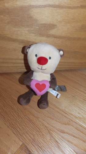 First & Main Beige Brown Tan Teddy Bear Red Nose Pink Heart Funky Friendzies V7002HR