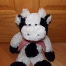 Animal Adventure 2004 Plush Black & White Cow Red Gingham Plaid Bow