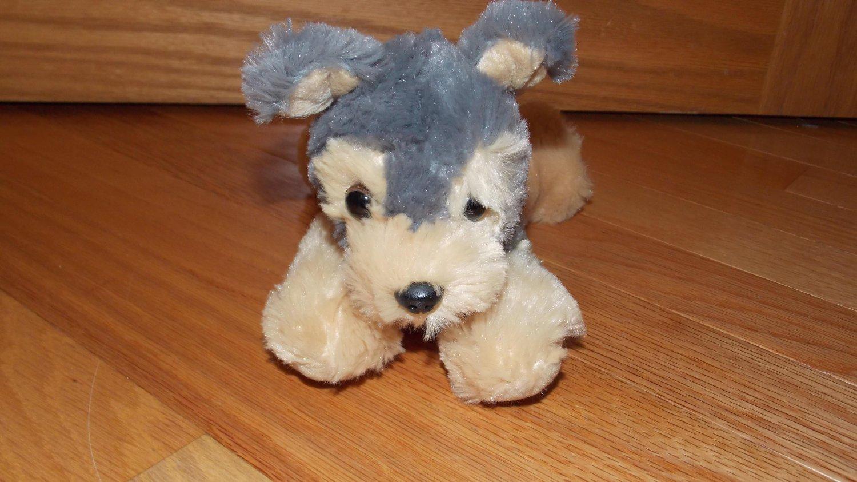 aurora plush white black fluffy puppy dog toy 8 inch