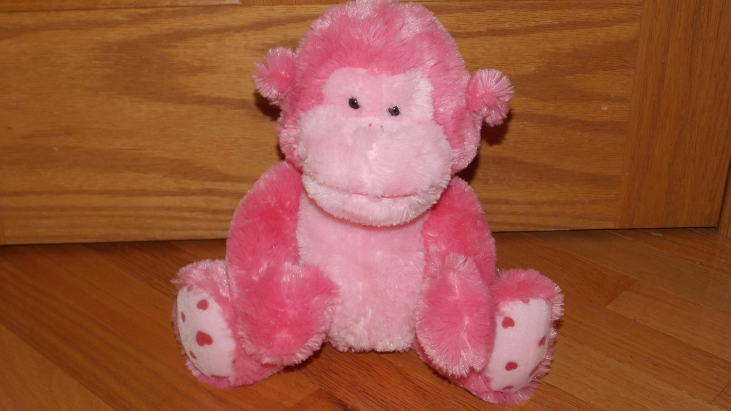 Russ Berrie Pink Plush Sitting Monkey Named Coby Heart