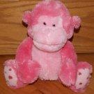 Russ Berrie Pink Plush Sitting Monkey Named Coby Heart Feet 39153