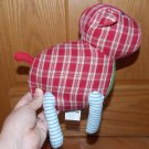 Pottery Barn Kids Country Plush Cow Pig Red White Plaid Blue Green Stripe Legs Nursery Decoration