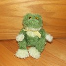 Cost Plus World Market Green Shaggy 9 Inch Plush Frog Yellow Gingham Ribbon Bow Beans