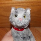 Russ Berrie Gray Striped Kitty Cat Plush Toy Red Heart Collar 39213