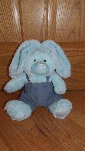 Kmart 10 Inch Blue Plush Sitting Bunny Rabbit Denim Bib Overalls