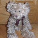 Russ Berrie Bears from the Past Tan Beige Shaggy Fur Teddy Bear Brown Polka Dot Ribbon Bow 3288
