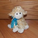 Animal Adventure 2010 Golden Cream Plush Curly Lamb Sheep Teal Blue Ribbon Bow
