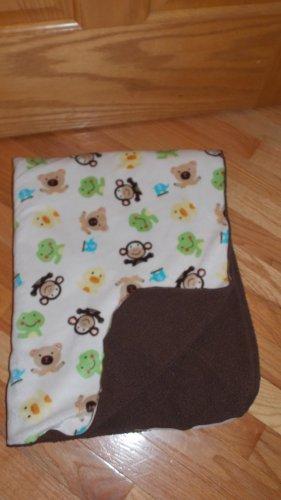 Circo Target Cream Brown Animal Sherpa Baby Blanket Monkey Frog Bear Duck Elephant