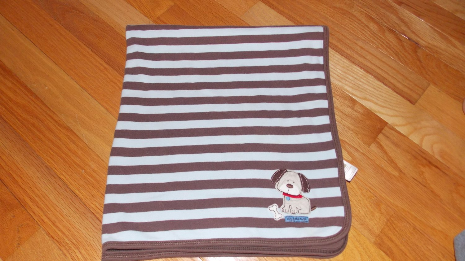 Carters Just One Year Blue Brown Stripe Cotton Doggone Cute Puppy Dog Paw Baby Blanket