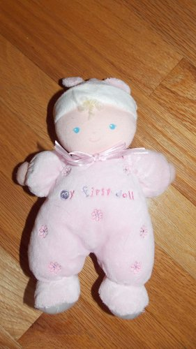 Carters Just One Year Pink My First Doll Blond Flowers Hat Rattle 96921