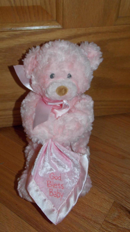 Baby Gund Plush Pink Musical Teddy Bear God Bless Baby Melody Faith 58423 Holding Lovey