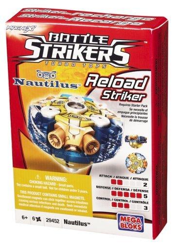 Mega Bloks Battle Strikers Turbo Tops Reload Striker Series 1 Nautilus Magnext