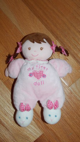 Carters Child of Mine Pink My First Doll Brunette Braids Bunny Slippers 87350