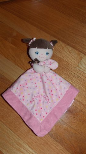 Garanimals Pink Plush My Best Friend Doll Security Blanket Lovey Brown Hair Polka Dots Bows 82232