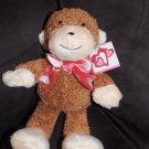 CS International H.K. Toys Shopko Brown Cream Plush Monkey Heart Ribbon Valentines Toy