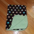 Target Circo Brown Green Cream Tan Teal Dot Circle Baby Blanket Minky Sherpa