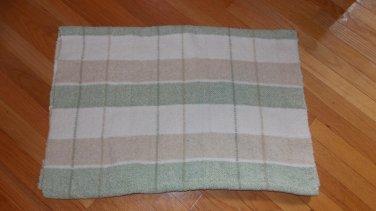 Bright Future Green Cream White Tan Beige Plaid Knit Chenille Baby Blanket