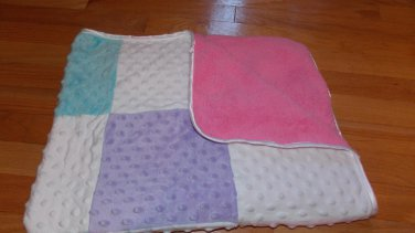 Circo White Minky Dot Patchwork Baby Blanket Pink Sherpa Teal Yellow Purple