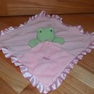 Carters OS Green Frog Pink Minky Satin Ruffle Princess Security Blanket Lovey L22782H