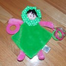 Mud Pie Hot Pink Green Velour Flower Teether Security Blanket Rattle Lovey Doll