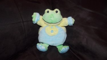 Aurora Baby Green Frog Blue Yellow Outfit Buttons Polka Dot Feet Round Plush Toy