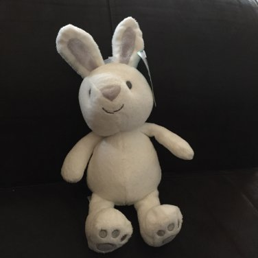 Carters Just One You White Plush Bunny Rabbit Gray Ears Triangle Nose Rattle  63003