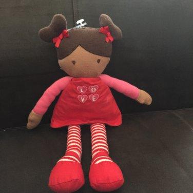 Just One You Red Pink Plush Valentine Talking Love Doll Stripe Tights Dark Brown Hair Skin 630253