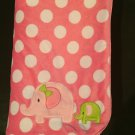 Carters Just One You Pink White Polka Dot Elephant Sherpa Baby Blanket Style J4373