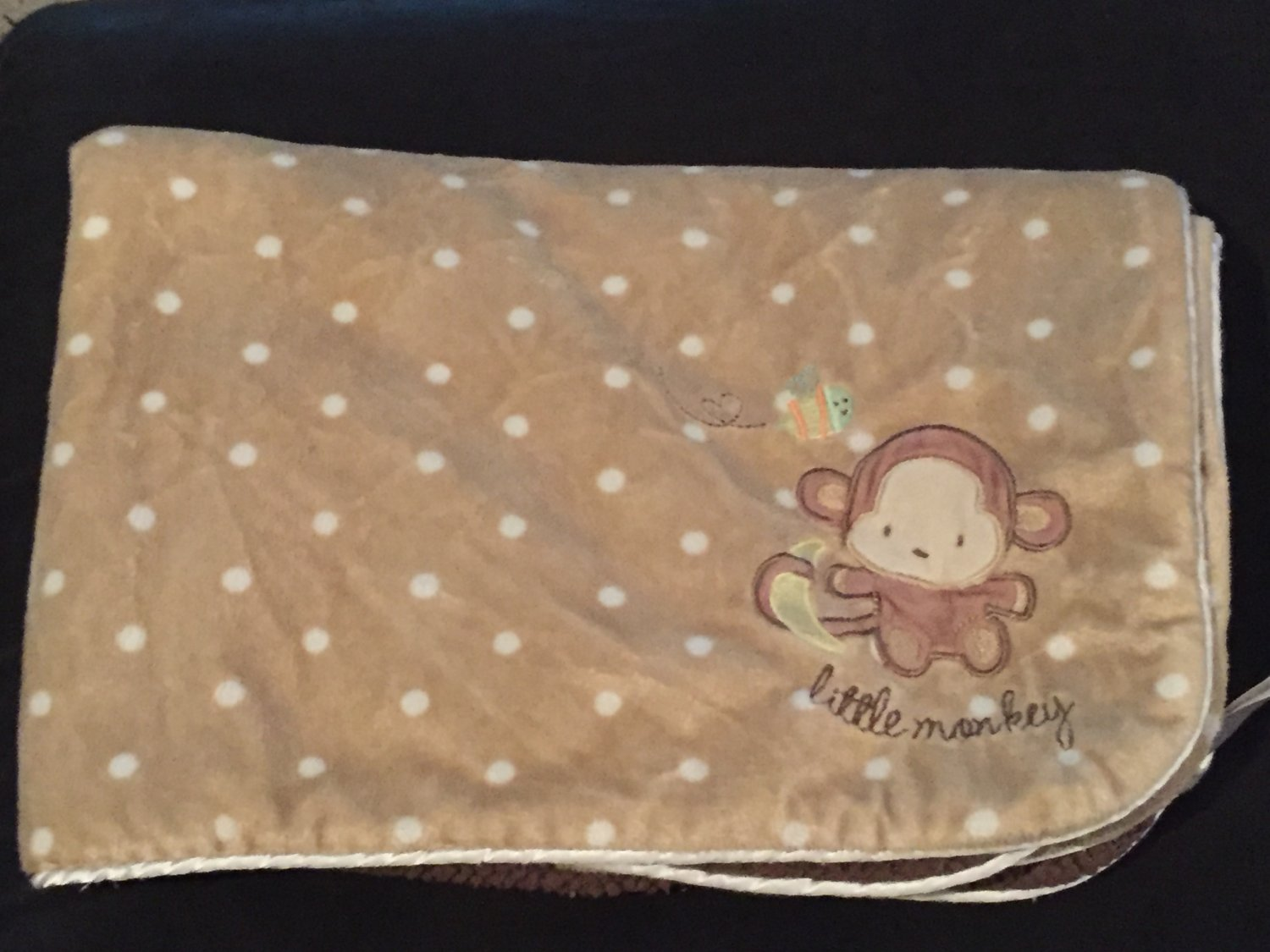Carters Just One Year Tan Polka Dot Brown Sherpa Little Monkey Baby Blanket J4923