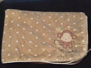 Carters Just One Year Tan Polka Dot Brown Sherpa Little Monkey Baby Blanket J4923