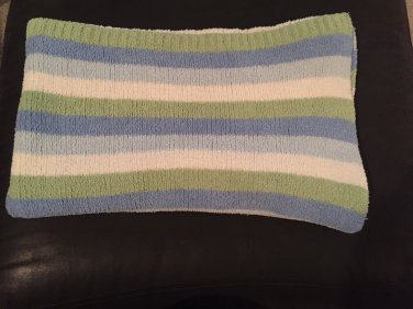 Carters Just One Year Knit Chenille Green Blue White Baby Blanket Stripes