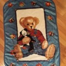 Spring maid Blue Jean Teddy Bear Luxe Baby Blanket Panda blocks