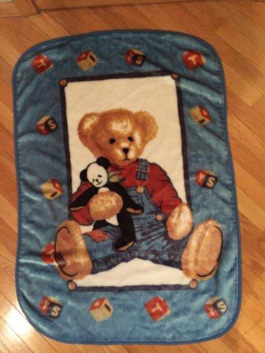 Spring maid Blue Jean Teddy Bear Luxe Baby Blanket Panda blocks