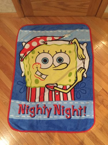 Nickelodeon Sponge Bob Square Pants Night Night Toddler Size Crib Blanket Spongebob