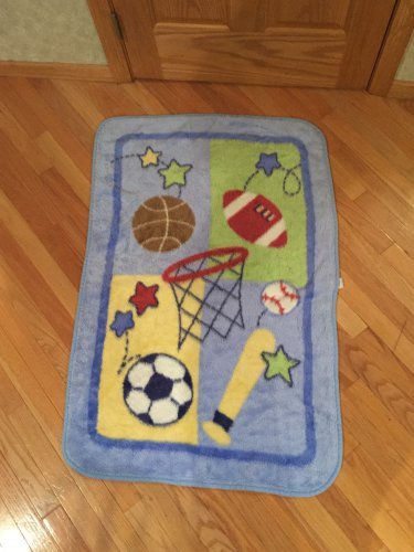 Just Born Sports Theme Luxe Thick Baby Blanket Football Baseball Basketball Soccer Stars Bat 48570R