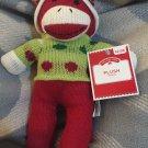 DanDee Plush Red Sock Monkey Green Polka Dot Sweater Hat Christmas