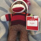 DanDee Plush Brown Sock Monkey Red Orange Green Stripe Sweater Hat Christmas