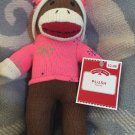 DanDee Plush Brown Sock Monkey Pink Snowflake Sweater Hat Christmas