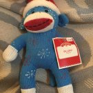DanDee Plush Blue Sock Monkey Snowflake Santa Hat Christmas