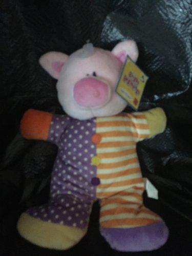 Russ Berrie Kids Plush Pink Pig Rattle Wearing Purple Polka Dot Orange Stripe Pajamas