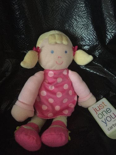Carters Just One You Plush Baby Doll Pink Polka Dot Dress Blond Pony Tails Stripe Tights 92896