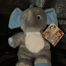 Garanimals Gray Plush Elephant Blue Striped Ears Feet Sewn Eyes 82497