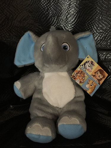 Garanimals Gray Plush Elephant Blue Striped Ears Feet Sewn Eyes 82497
