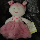 Baby Starters Pink White Plush Doll Dollie Polka Dots Minky Swirl Dress
