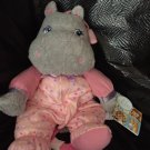 Gar animals Hippo Plush Musical Crib Pull Toy Pink Dots Gray Rock A Bye Baby 82236