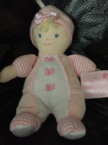 Kids Preferred Pink Baby Doll Blonde Bows Stripes Hat Waffle