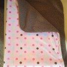 Just Born Pink Brown Minky Sherpa Pastel Polka Dot Baby Blanket Green Blue Style 48586K
