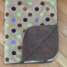 Garanimals Tan Brown Velour Sherpa Baby Blanket Green Blue Polka Dots GM42508