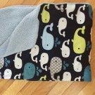 Target Circo Navy Blue Whales Baby Blanket Sherpa Green Gray Dot Velour