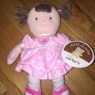 Carters Child of Mine Plush Doll Rattle Brown Hair Pink White Polka Dot Dress Heart Style 82840